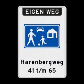 Aluminium informatiebord met een dubbel omgezette rand - Reflecterende opdruk: Aluminium informatiebord met een dubbel omgezette rand met print van tekst / pictogrammen in reflectieklasse 3 (incl. anti-graffiti laminaat). Basis: Wit / witte rand (Rand: RAL 9016 - wit) Koptekst: Pictogram: EIGEN WEG (banner) Verkeersteken: Pictogram: G05 - woonerf Tekstvlak: Harenbergweg 41 t/m 65. - Product eigenschappen: Ontwerpcode: 61660aAfmetingen: 600x900mmReflecterend: Klasse 3 [ maximaal ]Uitvoering: Dubbel omgezette randIncl. anti-graffiti laminaat