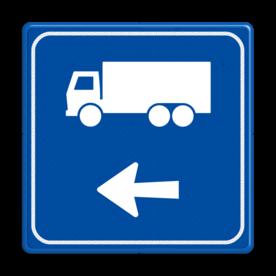 Aluminium informatiebord met een dubbel omgezette rand - Aluminium informatiebord met een dubbel omgezette rand met print van tekst / pictogrammen in reflectieklasse 3 (incl. anti-graffiti laminaat). Reflecterende opdruk: Basis: Blauw (Rand: RAL 5017 - blauw) Picto bovenaan: Pictogram: Vrachtwagen (standaard) Picto onderaan: Pictogram: Pijl links.