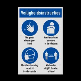 Veiligheidsbord vlak Alupanel (2mm) - Reflecterende opdruk: Veiligheidsbord vlak Alupanel (2mm) met print van tekst / pictogrammen in reflectieklasse 1 (incl. anti-graffiti laminaat). Basis: Wit (Rand: RAL 9016 - wit) Banner: Pictogram: Veiligheidsinstructies Picto 1: Pictogram: Verplicht om te zwaaien Tekstvlak: We geven elkaar geen hand Picto 2: Pictogram: Verplicht om in de elleboog te niezen/hoesten Tekstvlak: Hoesten/niezen doen we in de elleboog Picto 3: Pictogram: Mondbescherming verplicht Tekstvlak: Mondbescherming verplicht in elke ruimte Picto 4: Pictogram: Verplicht om afstand te houden Tekstvlak: We houden altijd 1.5 meter afstand. - Product eigenschappen: Ontwerpcode: 648755Afmetingen: 300x450mmReflecterend: Klasse 1 [ minimaal ]Uitvoering: Vlakke plaat (2mm)Incl. anti-graffiti laminaat