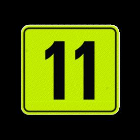 Huisnummerbord Alupanel 119x109 - Reflecterende opdruk: Huisnummerbord Alupanel 119x109 met print van tekst / pictogrammen in reflectieklasse 3 (incl. anti-graffiti laminaat). Basis: Geel-groen-Fluor met zwart (Rand: RAL 9017 - zwart) Tekstvlak: 11. - Product eigenschappen: Ontwerpcode: 6610e7Afmetingen: 119x109mmReflecterend: Klasse 3 [ maximaal ]Incl. anti-graffiti laminaat
