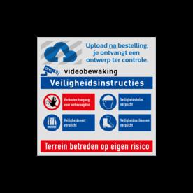 Veiligheidsbord vlak Alupanel (2mm) - Reflecterende opdruk: Veiligheidsbord vlak Alupanel (2mm) met print van tekst / pictogrammen in reflectieklasse 1 (incl. anti-graffiti laminaat). Basis: Wit (Rand: RAL 9016 - wit) 1e regel (laag of hoog): Pictogram: LOGO 2e regel (laag): Pictogram: 3e regel (laag of hoog): Pictogram: Videobewaking 4e regel (laag): Pictogram: Veiligheidsinstructies Picto 1: Pictogram: P000 - Verboden toegang voor onbevoegden Picto 2: Pictogram: M014 - Veiligheidshelm verplicht Picto 3: Pictogram: M015 - Veiligheidsvest verplicht Picto 4: Pictogram: M008 - Veiligheidsschoenen verplicht 5e regel (laag): Pictogram: Terrein betreden op eigen risico. - Product eigenschappen: Ontwerpcode: 6db9ffAfmetingen: 300x300mmReflecterend: Klasse 1 [ minimaal ]Uitvoering: Vlakke plaat (2mm)Incl. anti-graffiti laminaat