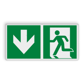 Veiligheidsbord met dubbel omgezette rand - Veiligheidsbord met dubbel omgezette rand met print van tekst / pictogrammen in reflectieklasse 3 (incl. anti-graffiti laminaat). Reflecterende opdruk: Basis: Wit (Rand: RAL 9016 - wit) Picto links: Pictogram: E006o - Naar beneden richting reddingsmiddel Picto rechts: Pictogram: E001 - Nooduitgang links.