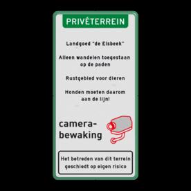 """Aluminium informatiebord met een dubbel omgezette rand - Aluminium informatiebord met een dubbel omgezette rand met print van tekst / pictogrammen in reflectieklasse 1 (incl. anti-graffiti laminaat). Reflecterende opdruk: Basis: Wit / groene rand (Rand: RAL 6024 - groen) Koptekst: Pictogram: PRIVÉTERREIN Tekstvlak: Landgoed """"de Elsbeek"""" . Alleen wandelen toegestaan op de paden . Rustgebied voor dieren . Honden moeten daarom aan de lijn! Pictogram: Pictogram: Camerabewaking BE Onderbanner: Pictogram: Het betreden van dit terrein geschiedt op eigen risico."""