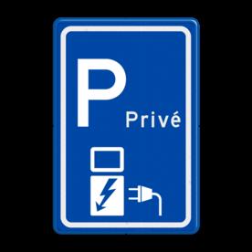Aluminium informatiebord met een dubbel omgezette rand - Aluminium informatiebord met een dubbel omgezette rand met print van tekst / pictogrammen in reflectieklasse 3 (incl. anti-graffiti laminaat). Reflecterende opdruk: Basis: Blauw (Rand: RAL 5017 - blauw) Picto boven: Pictogram: Parkeerplaats met nummer: Privé Picto onder: Pictogram: Elektrisch opladen.
