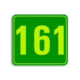 Huisnummerbord Alupanel 119x109 - Huisnummerbord Alupanel 119x109 met print van tekst / pictogrammen in reflectieklasse 3 (incl. anti-graffiti laminaat). Reflecterende opdruk: Basis: Groen - Gl-Gr-Fluor (Rand: Fluor geel/groen) Tekstvlak: 161.