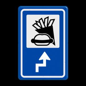 Aluminium informatiebord met een dubbel omgezette rand - Aluminium informatiebord met een dubbel omgezette rand met print van tekst / pictogrammen in reflectieklasse 3 (incl. anti-graffiti laminaat). Reflecterende opdruk: Basis: Blauw (Rand: RAL 5017 - blauw) Picto bovenin: Pictogram: Snackbar Pijl / pictogram onder: Pictogram: Pijl rechts links haaks.