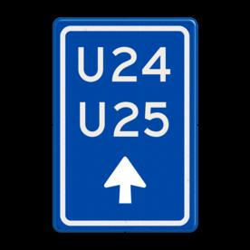 Aluminium informatiebord met een dubbel omgezette rand - Reflecterende opdruk: Aluminium informatiebord met een dubbel omgezette rand met print van tekst / pictogrammen in reflectieklasse 3 (incl. anti-graffiti laminaat). Basis: Blauw (Rand: RAL 5017 - blauw) Tekstvlak: U24 U25 Picto onder: Pictogram: Pijl rechtdoor. - Product eigenschappen: Ontwerpcode: 78c527Afmetingen: 400x600mmReflecterend: Klasse 3 [ maximaal ]Incl. anti-graffiti laminaat