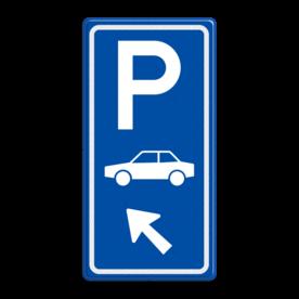 Aluminium informatiebord met een dubbel omgezette rand - Reflecterende opdruk: Aluminium informatiebord met een dubbel omgezette rand met print van tekst / pictogrammen in reflectieklasse 3 (incl. anti-graffiti laminaat). Basis: Blauw (Rand: RAL 5017 - blauw) Picto boven: Pictogram: Parkeren Picto midden: Pictogram: Auto (standaard) Picto onder: Pictogram: Pijl links boven. - Product eigenschappen: Ontwerpcode: 7b0a11Afmetingen: 400x800mmReflecterend: Klasse 3 [ maximaal ]Incl. anti-graffiti laminaat