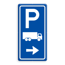 Aluminium informatiebord met een dubbel omgezette rand - Reflecterende opdruk: Aluminium informatiebord met een dubbel omgezette rand met print van tekst / pictogrammen in reflectieklasse 3 (incl. anti-graffiti laminaat). Basis: Blauw (Rand: RAL 5017 - blauw) Picto boven: Pictogram: Parkeren Picto midden: Pictogram: Vrachtwagen (gespiegeld) Picto onder: Pictogram: Pijl rechts. - Product eigenschappen: Ontwerpcode: 7b5bfbAfmetingen: 400x800mmReflecterend: Klasse 3 [ maximaal ]Incl. anti-graffiti laminaat