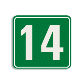 Huisnummerbord Alupanel 119x109mm - Huisnummerbord Alupanel 119x109mm met print van tekst / pictogrammen in reflectieklasse 3 (incl. anti-graffiti laminaat). Reflecterende opdruk: Basis: Groen (Rand: RAL 6024 - groen) kaderrand: Pictogram: Kaderrand Tekstvlak: 14.
