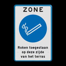 Aluminium informatiebord met een dubbel omgezette rand - Reflecterende opdruk: Aluminium informatiebord met een dubbel omgezette rand met print van tekst / pictogrammen in reflectieklasse 1 (incl. anti-graffiti laminaat). Basis: Wit / blauwe rand (Rand: RAL 5017 - blauw) Koptekst: Pictogram: ZONE Verkeersteken: Pictogram: M000-Rookzone Tekstvlak: Roken toegestaan op deze zijde van het terras. - Product eigenschappen: Ontwerpcode: 8124fbAfmetingen: 400x600mmReflecterend: Klasse 1 [ minimaal ]Uitvoering: Dubbel omgezette randIncl. anti-graffiti laminaat