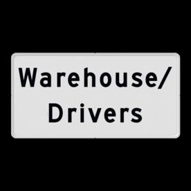 Aluminium informatiebord met een dubbel omgezette rand - Reflecterende opdruk: Aluminium informatiebord met een dubbel omgezette rand met print van tekst / pictogrammen in reflectieklasse 1 (incl. anti-graffiti laminaat). Basis: Wit / witte rand (Rand: RAL 9016 - wit) Tekstvlak: Warehouse/ Drivers. - Product eigenschappen: Ontwerpcode: 812b1bAfmetingen: 300x150mmReflecterend: Klasse 1 [ minimaal ]Uitvoering: Dubbel omgezette randIncl. anti-graffiti laminaat