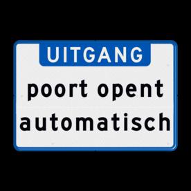Aluminium informatiebord met een dubbel omgezette rand - Reflecterende opdruk: Aluminium informatiebord met een dubbel omgezette rand met print van tekst / pictogrammen in reflectieklasse 3 (incl. anti-graffiti laminaat). Basis: Wit / blauwe rand (Rand: RAL 5017 - blauw) Banner: Pictogram: EIGEN TEKST: UITGANG Tekstvlak: poort opent automatisch. - Product eigenschappen: Ontwerpcode: 828ccaAfmetingen: 600x400mmReflecterend: Klasse 3 [ maximaal ]Uitvoering: Dubbel omgezette randIncl. anti-graffiti laminaat