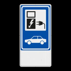 Aluminium informatiebord met een dubbel omgezette rand - Reflecterende opdruk: Aluminium informatiebord met een dubbel omgezette rand met print van tekst / pictogrammen in reflectieklasse 3 (incl. anti-graffiti laminaat). Basis: Wit / witte rand (Rand: RAL 9016 - wit) Verkeersteken BEW / E serie: Pictogram: BW101 SP19 - autolaadpunt Pictogram onder: Pictogram:. - Product eigenschappen: Ontwerpcode: 82d608Afmetingen: 400x800mmReflecterend: Klasse 3 [ maximaal ]Uitvoering: Dubbel omgezette randIncl. anti-graffiti laminaat