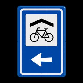 Aluminium informatiebord met een dubbel omgezette rand - Reflecterende opdruk: Aluminium informatiebord met een dubbel omgezette rand met print van tekst / pictogrammen in reflectieklasse 3 (incl. anti-graffiti laminaat). Basis: Blauw (Rand: RAL 5017 - blauw) Picto bovenin: Pictogram: Overdekte fietsenstalling Pijl: Pictogram: Pijl links. - Product eigenschappen: Ontwerpcode: 8362bbAfmetingen: 400x600mmReflecterend: Klasse 3 [ maximaal ]Uitvoering: Dubbel omgezette randIncl. anti-graffiti laminaat