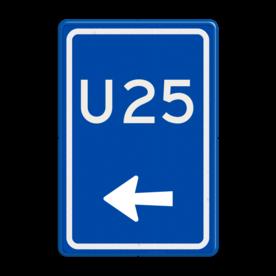 Aluminium informatiebord met een dubbel omgezette rand - Reflecterende opdruk: Aluminium informatiebord met een dubbel omgezette rand met print van tekst / pictogrammen in reflectieklasse 3 (incl. anti-graffiti laminaat). Basis: Blauw (Rand: RAL 5017 - blauw) Tekstvlak: U25 Picto onder: Pictogram: Pijl links. - Product eigenschappen: Ontwerpcode: 83c0a1Afmetingen: 400x600mmReflecterend: Klasse 3 [ maximaal ]Incl. anti-graffiti laminaat