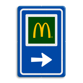Aluminium informatiebord met een dubbel omgezette rand - Aluminium informatiebord met een dubbel omgezette rand met print van tekst / pictogrammen in reflectieklasse 3 (incl. anti-graffiti laminaat). Reflecterende opdruk: Basis: Blauw (Rand: RAL 5017 - blauw) Picto bovenin: Pictogram: Mc Donalds Pijl / pictogram onder: Pictogram: Pijl rechts.