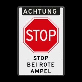 Aluminium informatiebord met een dubbel omgezette rand - Reflecterende opdruk: Aluminium informatiebord met een dubbel omgezette rand met print van tekst / pictogrammen in reflectieklasse 3 (incl. anti-graffiti laminaat). Basis: Wit / zwarte rand (Rand: RAL 9017 - zwart) Koptekst: Pictogram: EIGEN TEKST: ACHTUNG Verkeersteken: Pictogram: B07 Tekstvlak: STOP BEI ROTE AMPEL. - Product eigenschappen: Ontwerpcode: 8acd01Afmetingen: 400x600mmReflecterend: Klasse 3 [ maximaal ]Uitvoering: Dubbel omgezette randIncl. anti-graffiti laminaat