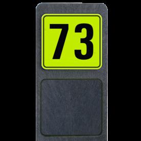 Bermpaal 1250x150x40mm met fluorescerend bordje 119x109mm - Bermpaal 1250x150x40mm met fluorescerend bordje 119x109mm met print van tekst / pictogrammen in reflectieklasse 3 (incl. anti-graffiti laminaat). Reflecterende opdruk: Basis: Geel-groen-Fluor met zwart (Rand: RAL 9017 - zwart) Tekstvlak: 73.