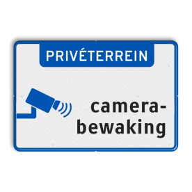 Aluminium informatiebord met een dubbel omgezette rand - Aluminium informatiebord met een dubbel omgezette rand met print van tekst / pictogrammen in reflectieklasse 3 (incl. anti-graffiti laminaat). Reflecterende opdruk: Basis: Wit / blauwe rand (Rand: RAL 5017 - blauw) Banner: Pictogram: PRIVÉTERREIN picto: Pictogram: Camerabewaking.