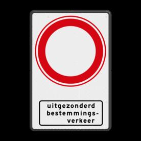 Aluminium informatiebord met een dubbel omgezette rand - Reflecterende opdruk: Aluminium informatiebord met een dubbel omgezette rand met print van tekst / pictogrammen in reflectieklasse 3 (incl. anti-graffiti laminaat). Basis: Wit / zwarte rand (Rand: RAL 9017 - zwart) Verkeersteken: Pictogram: C01 - Gesloten voor alle verkeer Picto onder: Pictogram: Onderbord OB108 - uitgezonderd bestemmingsverkeer. - Product eigenschappen: Ontwerpcode: 8d66f3Afmetingen: 400x600mmReflecterend: Klasse 3 [ maximaal ]Uitvoering: Dubbel omgezette randIncl. anti-graffiti laminaat
