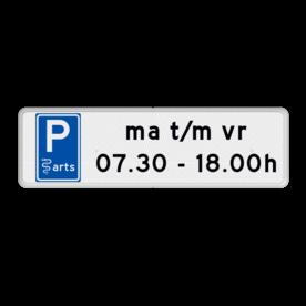 Aluminium informatiebord met een dubbel omgezette rand - Aluminium informatiebord met een dubbel omgezette rand met print van tekst / pictogrammen in reflectieklasse 3 (incl. anti-graffiti laminaat). Reflecterende opdruk: Basis: Wit / witte rand (Rand: RAL 9016 - wit) Picto: Pictogram: E08 - Arts Tekstvlak: ma t/m vr 07.30 - 18.00h.