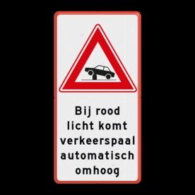 Aluminium informatiebord met een dubbel omgezette rand - Aluminium informatiebord met een dubbel omgezette rand met print van tekst / pictogrammen in reflectieklasse 3 (incl. anti-graffiti laminaat). Reflecterende opdruk: Basis: Wit / rode rand (Rand: RAL 3020 - rood) Verkeersteken: Pictogram: J39 - beweegbare verkeerspaal Tekstvlak: Bij rood licht komt verkeerspaal automatisch omhoog.