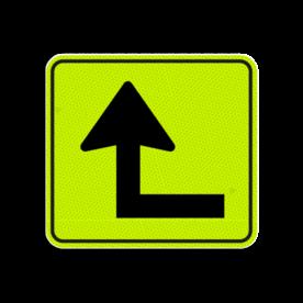 Huisnummerbord Alupanel 119x109 - Reflecterende opdruk: Huisnummerbord Alupanel 119x109 met print van tekst / pictogrammen in reflectieklasse 3 (incl. anti-graffiti laminaat). Basis: Geel-groen-Fluor met zwart (Rand: RAL 9005 - zwart) Picto: Pictogram: 13 Pijl linksom-kort. - Product eigenschappen: Ontwerpcode: 96f28aAfmetingen: 119x109mmReflecterend: Klasse 3 [ maximaal ]Incl. anti-graffiti laminaat
