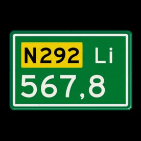 Aluminium hectometerbord met een dubbel omgezette rand - Aluminium hectometerbord met een dubbel omgezette rand met print van tekst / pictogrammen in reflectieklasse 3 (incl. anti-graffiti laminaat). Reflecterende opdruk: Basis: N-3 nummers (Rand: RAL 6024 - groen) Tekstvlak: N292 Tekstvlak: Li Tekstvlak: 567,8.