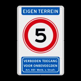 Aluminium informatiebord met een dubbel omgezette rand - Reflecterende opdruk: Aluminium informatiebord met een dubbel omgezette rand met print van tekst / pictogrammen in reflectieklasse 3 (incl. anti-graffiti laminaat). Basis: Wit / witte rand (Rand: RAL 9016 - wit) Koptekst: Pictogram: EIGEN TERREIN (banner) Verkeersteken: Pictogram: A01- vrij invoerbaar: 5 Ondertekst: Pictogram: 1. Verboden toegang Art. 461. - Product eigenschappen: Ontwerpcode: 9c8e09Afmetingen: 400x600mmReflecterend: Klasse 3 [ maximaal ]Uitvoering: Dubbel omgezette randIncl. anti-graffiti laminaat