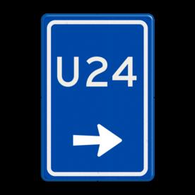 Aluminium informatiebord met een dubbel omgezette rand - Reflecterende opdruk: Aluminium informatiebord met een dubbel omgezette rand met print van tekst / pictogrammen in reflectieklasse 3 (incl. anti-graffiti laminaat). Basis: Blauw (Rand: RAL 5017 - blauw) Tekstvlak: U24 Picto onder: Pictogram: Pijl rechts. - Product eigenschappen: Ontwerpcode: 9d411aAfmetingen: 400x600mmReflecterend: Klasse 3 [ maximaal ]Incl. anti-graffiti laminaat