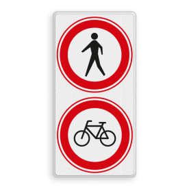 Aluminium informatiebord met een dubbel omgezette rand - Aluminium informatiebord met een dubbel omgezette rand met print van tekst / pictogrammen in reflectieklasse 3 (incl. anti-graffiti laminaat). Reflecterende opdruk: Basis: Wit / witte rand (Rand: RAL 9016 - wit) Verkeersteken boven: Pictogram: C16 - Gesloten voor voetgangers Verkeersteken midden: Pictogram: C14 - Gesloten voor fietsers.