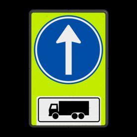 Aluminium informatiebord met een dubbel omgezette rand - Reflecterende opdruk: Aluminium informatiebord met een dubbel omgezette rand met print van tekst / pictogrammen in reflectieklasse 3 (incl. anti-graffiti laminaat). Basis: Fluor geel-groen / zwarte rand (Rand: RAL 9017 - zwart) Verkeersteken: Pictogram: D04 Picto onder: Pictogram: Geldt voor vrachtauto's. - Product eigenschappen: Ontwerpcode: a150a8Afmetingen: 400x600mmReflecterend: Klasse 3 [ maximaal ]Uitvoering: Dubbel omgezette randIncl. anti-graffiti laminaat