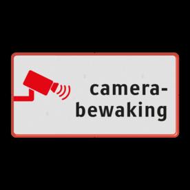 Aluminium informatiebord met een dubbel omgezette rand - Reflecterende opdruk: Aluminium informatiebord met een dubbel omgezette rand met print van tekst / pictogrammen in reflectieklasse 1 (incl. anti-graffiti laminaat). Basis: Wit / rode rand (Rand: RAL 3020 - rood) Pictogram onder: Pictogram: Camerabewaking. - Product eigenschappen: Ontwerpcode: a86b28Afmetingen: 400x200mmReflecterend: Klasse 1 [ minimaal ]Uitvoering: Dubbel omgezette randIncl. anti-graffiti laminaat