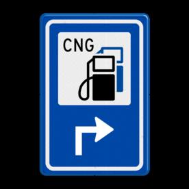 Aluminium informatiebord met een dubbel omgezette rand - Aluminium informatiebord met een dubbel omgezette rand met print van tekst / pictogrammen in reflectieklasse 3 (incl. anti-graffiti laminaat). Reflecterende opdruk: Basis: Blauw (Rand: RAL 5017 - blauw) Picto bovenin: Pictogram: Tankstation met CNG Pijl / pictogram onder: Pictogram: Pijl rechts haaks.