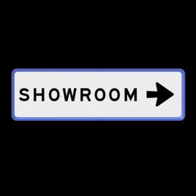 Aluminium informatiebord met een dubbel omgezette rand - Reflecterende opdruk: Aluminium informatiebord met een dubbel omgezette rand met print van tekst / pictogrammen in reflectieklasse 3 (incl. anti-graffiti laminaat). Basis: Wit / blauwe rand (Rand: RAL 5017 - blauw) Tekstvlak: SHOWROOM Routepijlen: Pictogram: Pijl rechts. - Product eigenschappen: Ontwerpcode: abf223Afmetingen: 500x150mmReflecterend: Klasse 3 [ maximaal ]Uitvoering: Dubbel omgezette randIncl. anti-graffiti laminaat