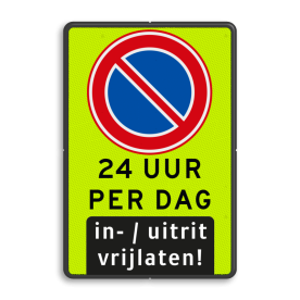 Aluminium informatiebord met een dubbel omgezette rand - Aluminium informatiebord met een dubbel omgezette rand met print van tekst / pictogrammen in reflectieklasse 3 (incl. anti-graffiti laminaat). Reflecterende opdruk: Basis: Fluor geel-groen / zwarte rand (Rand: RAL 9017 - zwart) Verkeersteken: Pictogram: E01 - Parkeren verboden Tekstvlak: 24 UUR PER DAG Pictogram onder: Pictogram: In- / uitrit vrijlaten.
