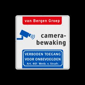 Aluminium informatiebord met een dubbel omgezette rand - Reflecterende opdruk: Aluminium informatiebord met een dubbel omgezette rand met print van tekst / pictogrammen in reflectieklasse 3 (incl. anti-graffiti laminaat). Basis: Wit / witte rand (Rand: RAL 9016 - wit) koptekst: Pictogram: EIGEN TEKST: van Bergen Groep Pictogram: Pictogram: Camerabewaking Onderbanner: Pictogram: Verboden toegang voor onbevoegden Art. 461 Wetboek van Strafrecht. - Product eigenschappen: Ontwerpcode: acec87Afmetingen: 400x400mmReflecterend: Klasse 3 [ maximaal ]Uitvoering: Dubbel omgezette randIncl. anti-graffiti laminaat