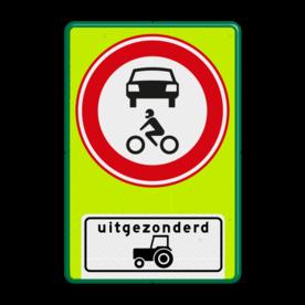 Aluminium informatiebord met een dubbel omgezette rand - Reflecterende opdruk: Aluminium informatiebord met een dubbel omgezette rand met print van tekst / pictogrammen in reflectieklasse 3 (incl. anti-graffiti laminaat). Basis: Fluor geel-groen / groene rand (Rand: RAL 6024 - groen) Verkeersteken: Pictogram: C12 - Gesloten voor alle motorvoertuigen Picto onder: Pictogram: Uitgezonderd tractoren. - Product eigenschappen: Ontwerpcode: ae9eadAfmetingen: 600x900mmReflecterend: Klasse 3 [ maximaal ]Uitvoering: Dubbel omgezette randIncl. anti-graffiti laminaat