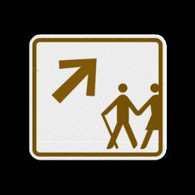 Routebord 119x109mm met pijl - Reflecterende opdruk: Routebord 119x109mm met pijl met print van tekst / pictogrammen in reflectieklasse 3 (incl. anti-graffiti laminaat). Basis: Wandelroutebord-pijl (Rand: RAL 8002 - bruin) Pijlrichting: Pictogram: 05 Rechts-omhoog. - Product eigenschappen: Ontwerpcode: af801cAfmetingen: 119x109mmReflecterend: Klasse 3 [ maximaal ]Incl. anti-graffiti laminaat
