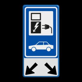 Aluminium informatiebord met een dubbel omgezette rand - Aluminium informatiebord met een dubbel omgezette rand met print van tekst / pictogrammen in reflectieklasse 1 (incl. anti-graffiti laminaat). Reflecterende opdruk: Basis: Wit / blauwe rand (Rand: RAL 5017 - blauw) Verkeersteken BEW / E serie: Pictogram: BW101 SP19 - autolaadpunt Pictogram onder: Pictogram: Pijl links- en rechtsonder.