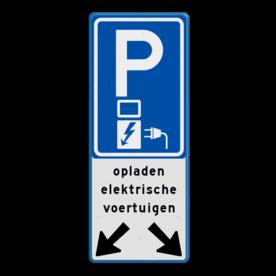 Aluminium informatiebord met een dubbel omgezette rand - Aluminium informatiebord met een dubbel omgezette rand met print van tekst / pictogrammen in reflectieklasse 1 (incl. anti-graffiti laminaat). Reflecterende opdruk: Basis: Wit / blauwe rand (Rand: RAL 5017 - blauw) Verkeersteken BEW / E serie: Pictogram: E08o - oplaadpunt Tekstvlak: opladen elektrische voertuigen Onderbanner: Pictogram: Pijl links- en rechtsonder.
