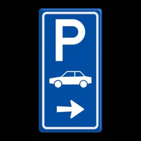 Aluminium informatiebord met een dubbel omgezette rand - Aluminium informatiebord met een dubbel omgezette rand met print van tekst / pictogrammen in reflectieklasse 3 (incl. anti-graffiti laminaat). Reflecterende opdruk: Basis: Blauw (Rand: RAL 5017 - blauw) Picto boven: Pictogram: Parkeren Picto midden: Pictogram: Auto (standaard) Picto onder: Pictogram: Pijl rechts.