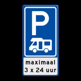 Aluminium informatiebord met een dubbel omgezette rand - Reflecterende opdruk: Aluminium informatiebord met een dubbel omgezette rand met print van tekst / pictogrammen in reflectieklasse 3 (incl. anti-graffiti laminaat). Basis: Blauw (Rand: RAL 5017 - blauw) Picto boven: Pictogram: Parkeren Picto midden: Pictogram: Camper (standaard) Tekstvlak: maximaal 3 x 24 uur. - Product eigenschappen: Ontwerpcode: b7cc35Afmetingen: 400x800mmReflecterend: Klasse 3 [ maximaal ]Incl. anti-graffiti laminaat
