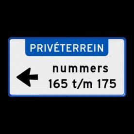 Aluminium informatiebord met een dubbel omgezette rand - Reflecterende opdruk: Aluminium informatiebord met een dubbel omgezette rand met print van tekst / pictogrammen in reflectieklasse 3 (incl. anti-graffiti laminaat). Basis: Wit / blauwe rand (Rand: RAL 5017 - blauw) Banner: Pictogram: PRIVÉTERREIN (banner) Icon: Pictogram: 01 Links Tekstvlak: nummers 165 t/m 175. - Product eigenschappen: Ontwerpcode: b9ebc6Afmetingen: 600x300mmReflecterend: Klasse 3 [ maximaal ]Uitvoering: Dubbel omgezette randIncl. anti-graffiti laminaat