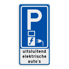 Aluminium informatiebord met een dubbel omgezette rand - Aluminium informatiebord met een dubbel omgezette rand met print van tekst / pictogrammen in reflectieklasse 3 (incl. anti-graffiti laminaat). Reflecterende opdruk: Basis: Wit / blauwe rand (Rand: RAL 5017 - blauw) Verkeerstekens E serie: Pictogram: E08o - oplaadpunt Tekstvlak: uitsluitend elektrische auto's.