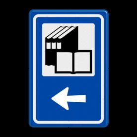 Aluminium informatiebord met een dubbel omgezette rand - Aluminium informatiebord met een dubbel omgezette rand met print van tekst / pictogrammen in reflectieklasse 3 (incl. anti-graffiti laminaat). Reflecterende opdruk: Basis: Blauw (Rand: RAL 5017 - blauw) Picto bovenin: Pictogram: Bibliotheek Pijl / pictogram onder: Pictogram: Pijl links.