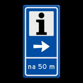 Aluminium informatiebord met een dubbel omgezette rand - Aluminium informatiebord met een dubbel omgezette rand met print van tekst / pictogrammen in reflectieklasse 3 (incl. anti-graffiti laminaat). Reflecterende opdruk: Basis: Blauw (Rand: RAL 5017 - blauw) Picto boven: Pictogram: Informatiecentrum Picto midden: Pictogram: Pijl rechts streep: Pictogram: Scheidingsstreep Tekstvlak: na 50 m.