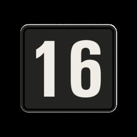 Huisnummerbord Alupanel 119x109mm - Huisnummerbord Alupanel 119x109mm met print van tekst / pictogrammen in reflectieklasse 3 (incl. anti-graffiti laminaat). Reflecterende opdruk: Basis: Zwart (Rand: RAL 9017 - zwart) kaderrand: Pictogram: Kaderrand Tekstvlak: 16.