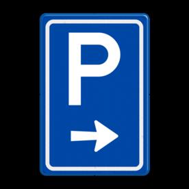 Aluminium informatiebord met een dubbel omgezette rand - Reflecterende opdruk: Aluminium informatiebord met een dubbel omgezette rand met print van tekst / pictogrammen in reflectieklasse 3 (incl. anti-graffiti laminaat). Basis: Blauw (Rand: RAL 5017 - blauw) Picto boven: Pictogram: Parkeren Picto onder: Pictogram: Pijl rechts. - Product eigenschappen: Ontwerpcode: bfbddcAfmetingen: 400x600mmReflecterend: Klasse 3 [ maximaal ]Incl. anti-graffiti laminaat